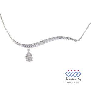 Pear Diamond Curved Style Necklace 14K White Gold